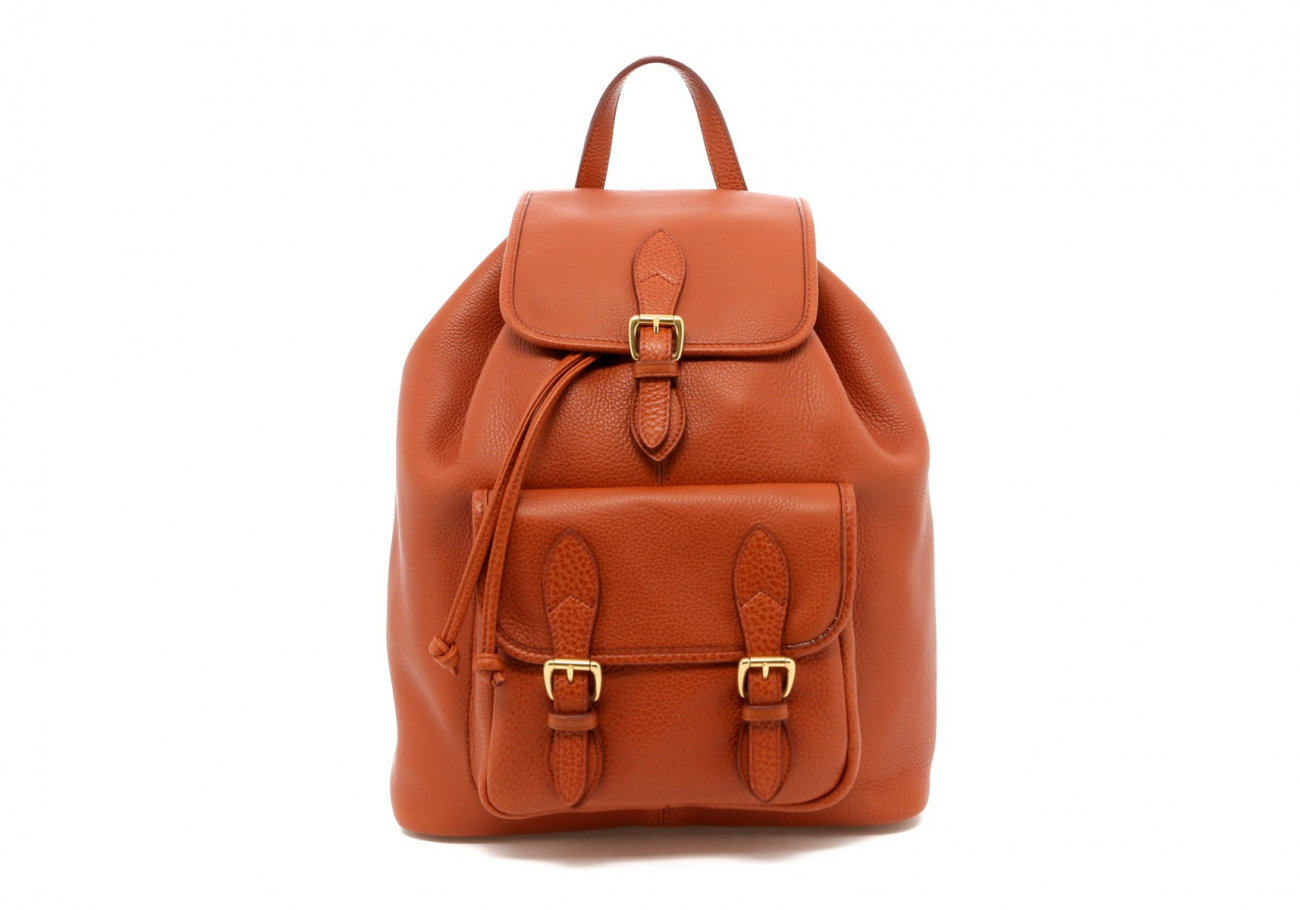 Cognac Pebbled Leather Classic Backpack B