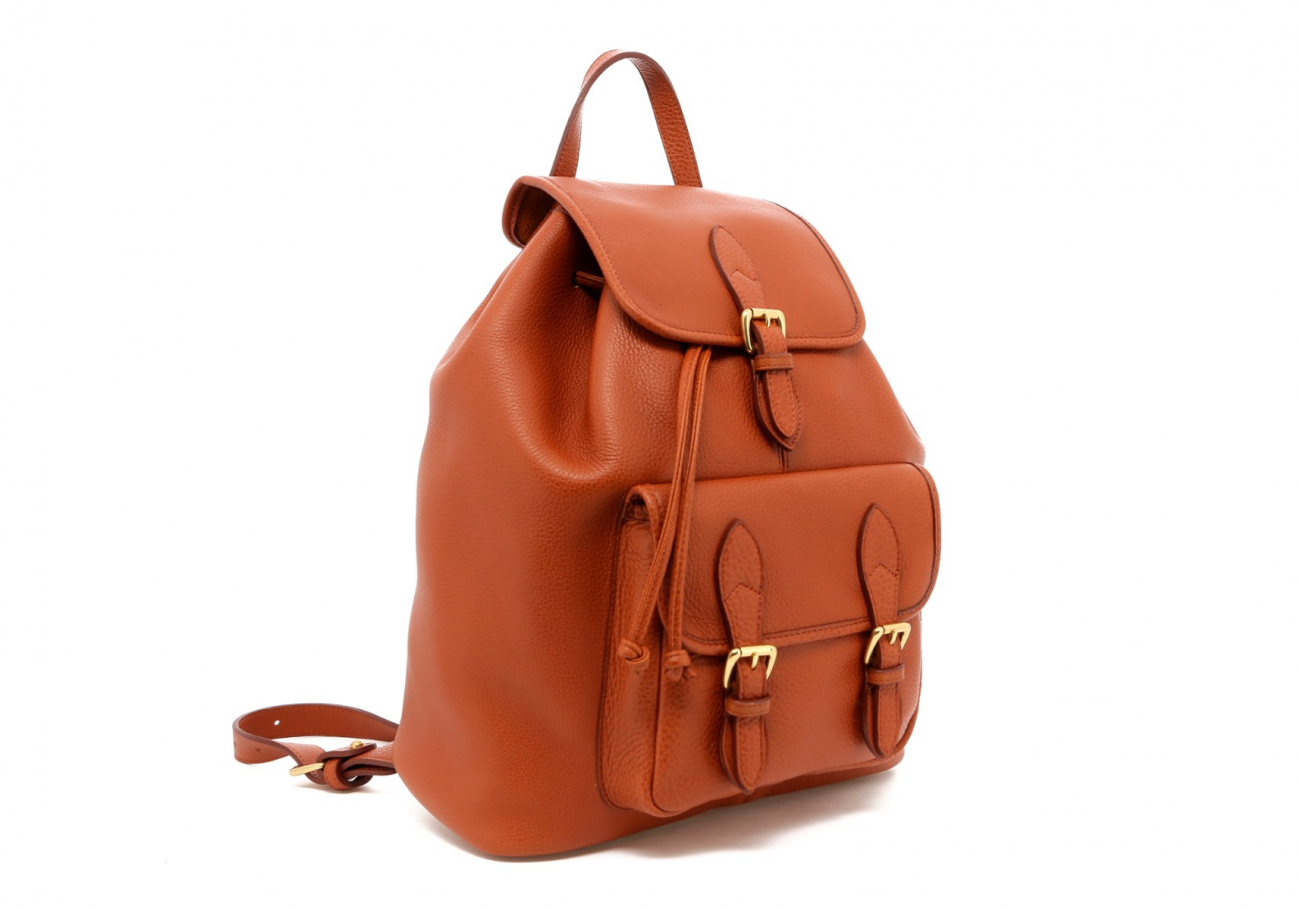 Cognac Pebbled Leather Classic Backpack C