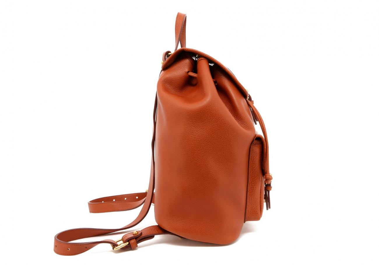 Cognac Pebbled Leather Classic Backpack D