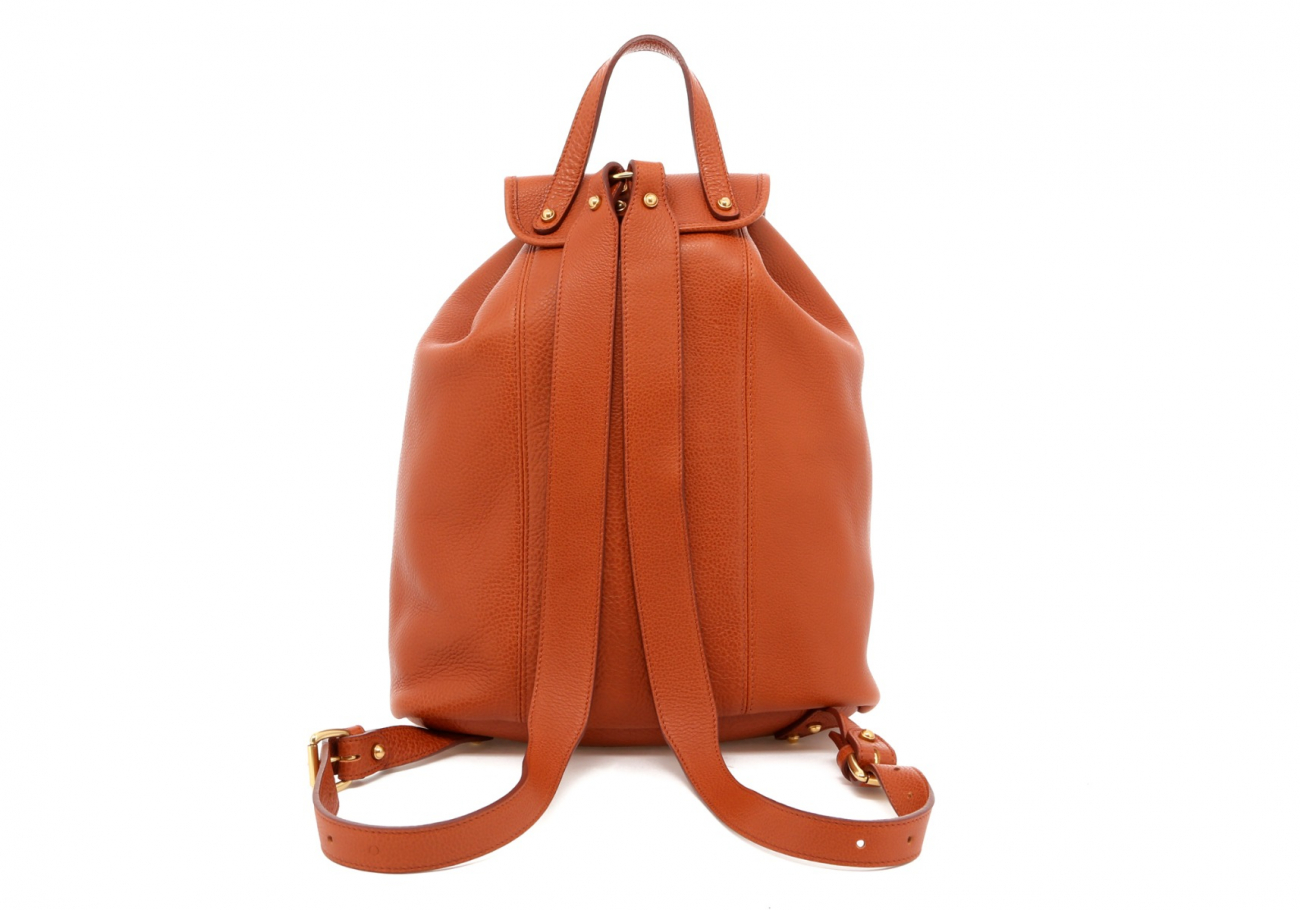 Cognac Pebbled Leather Classic Backpack E