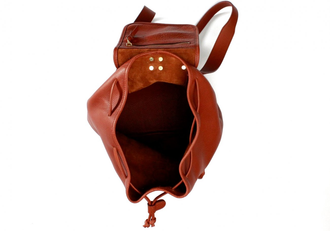 Cognac Pebbled Leather Classic Backpack F