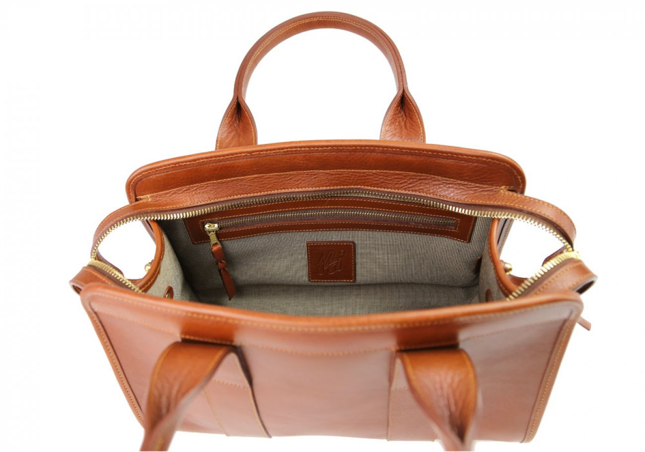 Cognac Small Leather Signature Satchel Frank Clegg Made In Usa 7