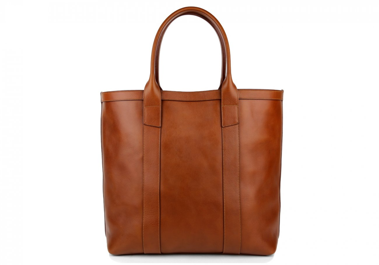 Cognac Tall Medium Tote Made In Usa Frank Clegg 1
