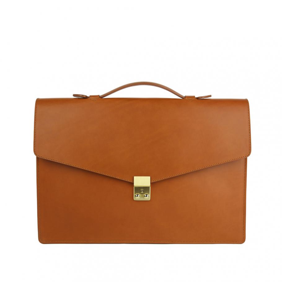 Final Cognac Leather Lock Portfolio With Handle 1