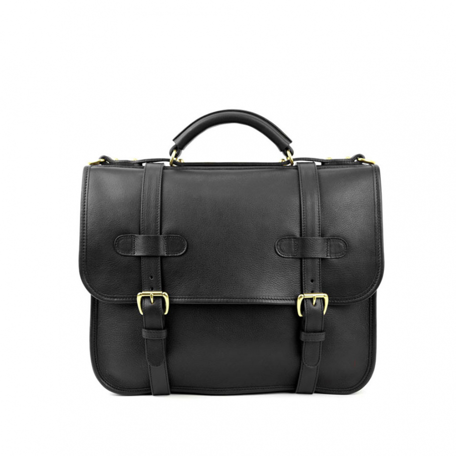 Final Black Leather Bound Edge English Satchel Frank Clegg Made In Usa 1 Raw 1