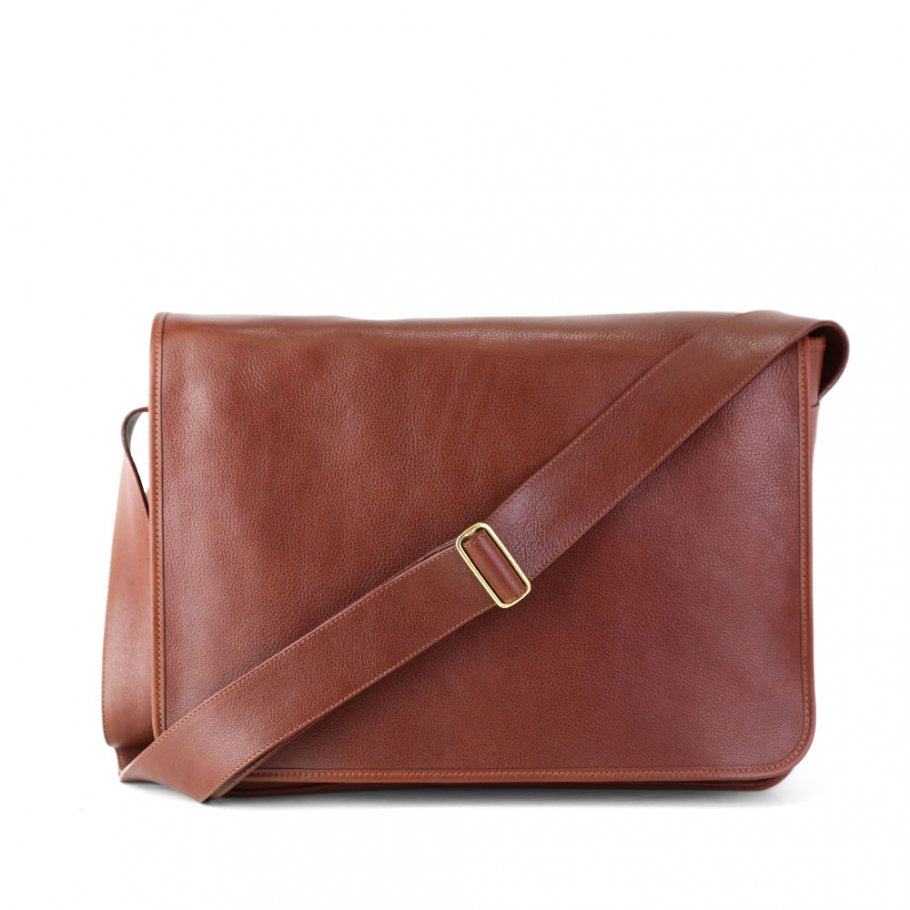 Final Chestnut Leather  Bound Edge Messenger Bag Frank Clegg Made In Usa 1 Raw 1