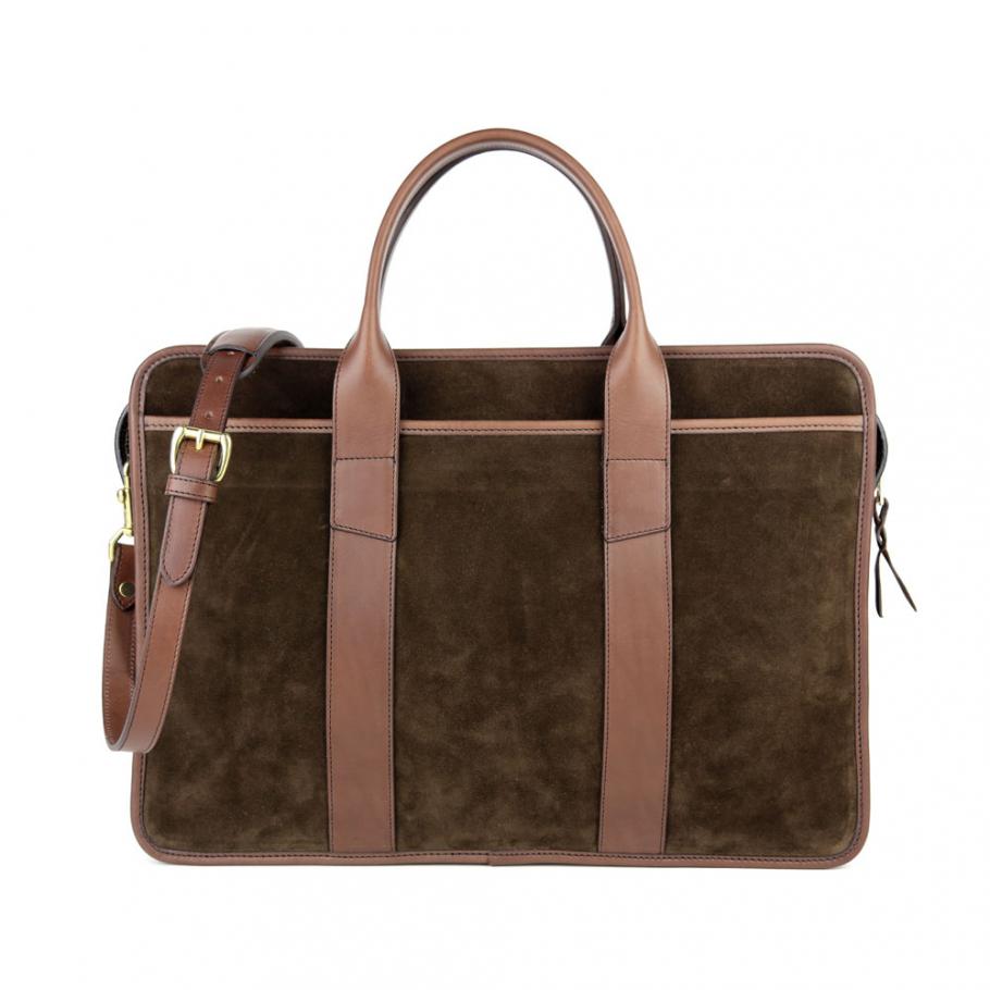 Final Chocolate Suede Bound Edge Ziptop Briefcase Frank Clegg Made In Usa 2 Raw