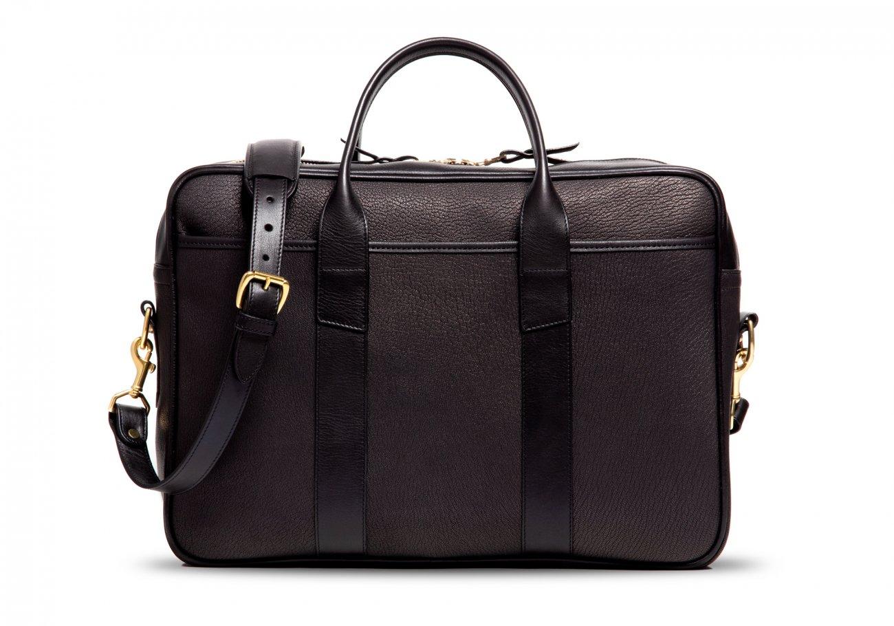 Goatskin Commuter Briefcase Chevre Black 2