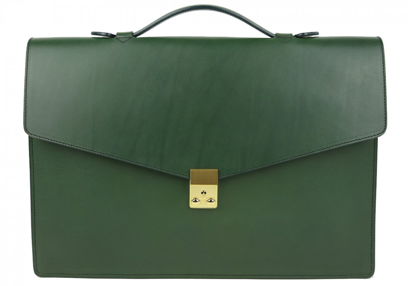 Green Leather Lock Portfolio With Handle 1 1