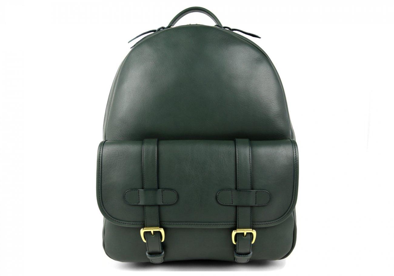Green Zipper Leather Backpack 1