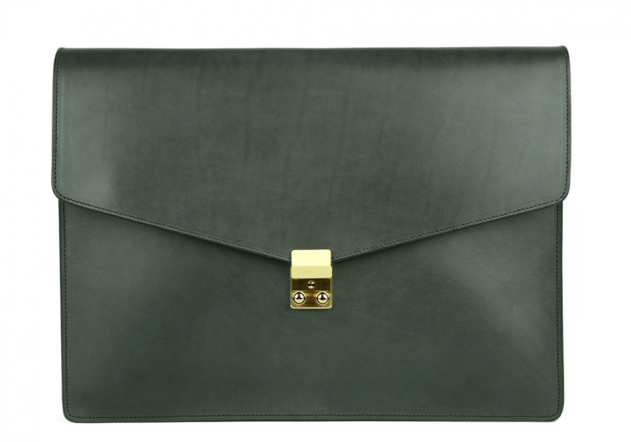 Green Harness Belting 15  Leather Lock Portfolio Case Frank Clegg Made In Usa 1