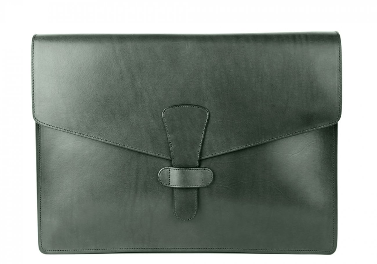 Green Harness Belting 15  Leather Portfolio Case Frank Clegg Made In Usa 1