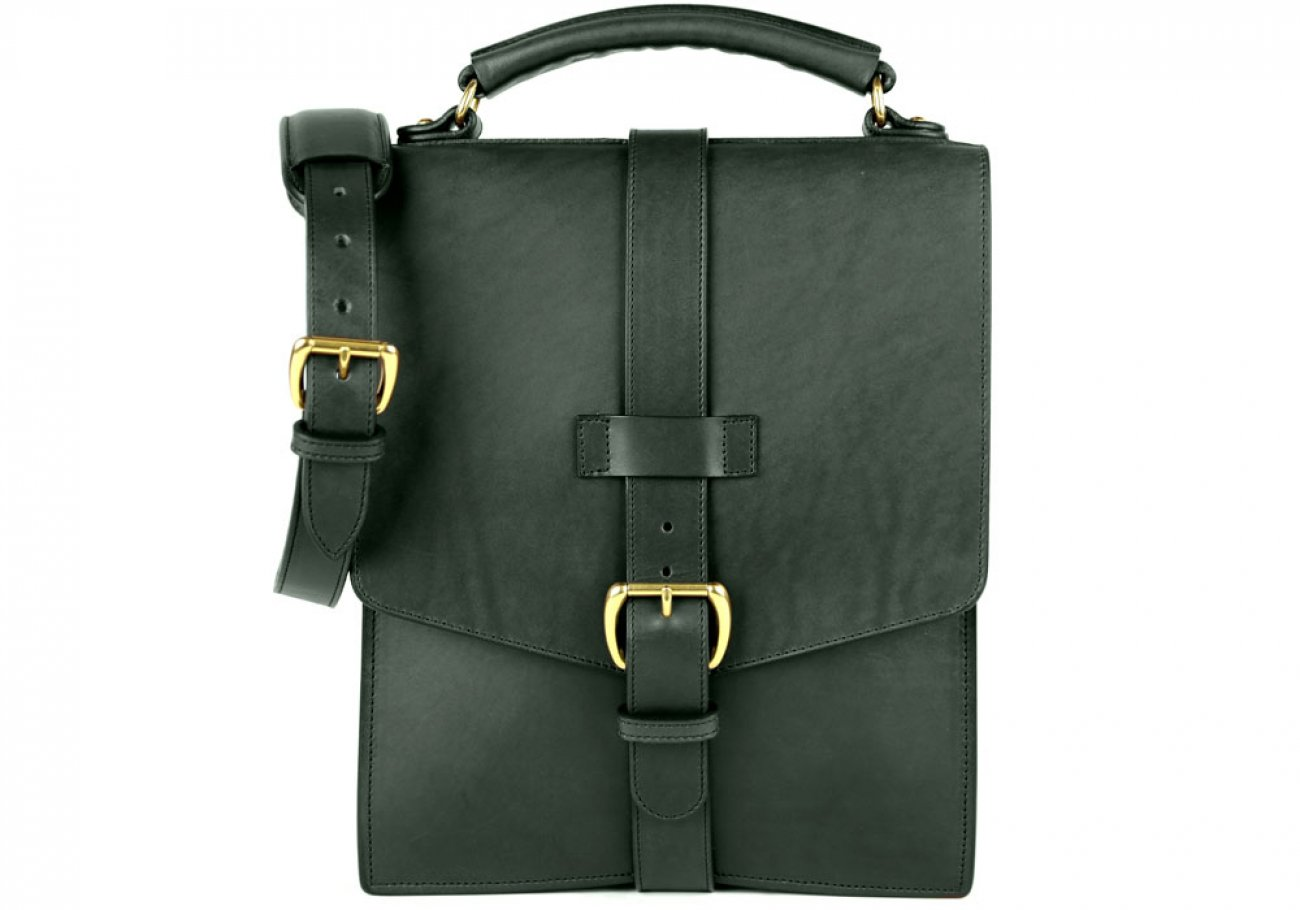 Green Harness Belting Leather Buckle Satchel Frank Clegg Made In Usa 1 1