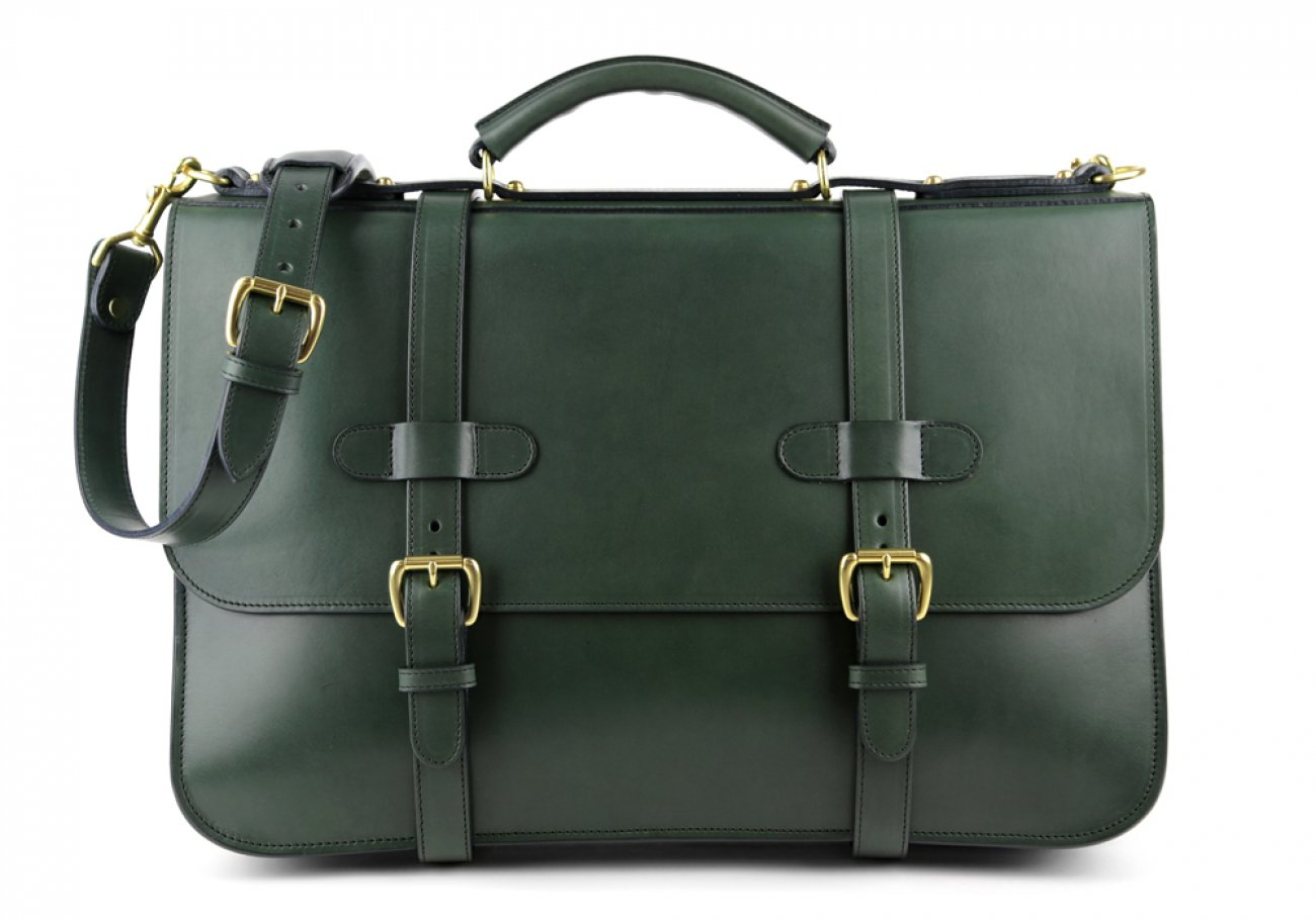 Green Harness Belting Leather English Briefcase Frank Clegg Made In Usa 1 1