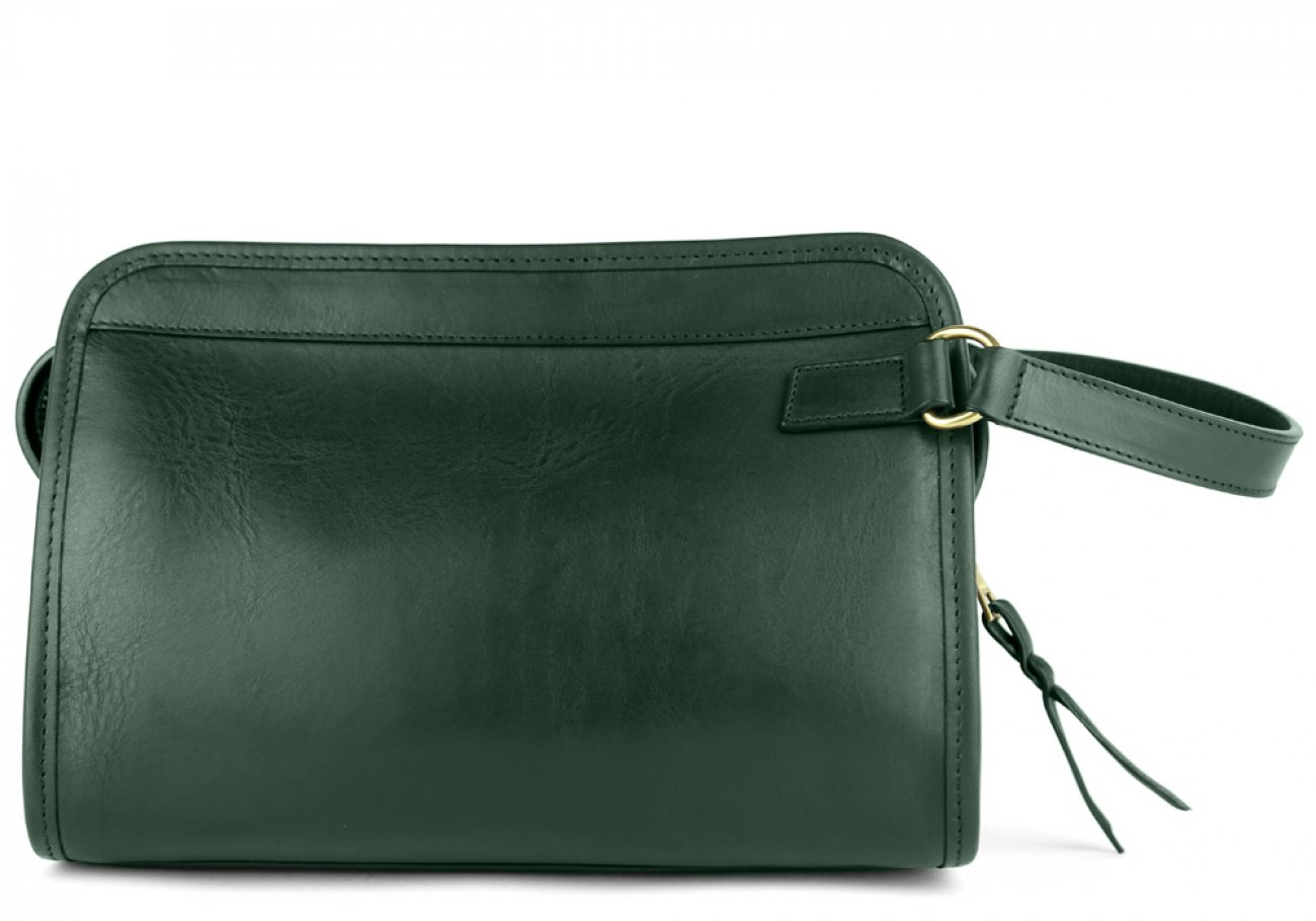 Green Large Tumbled Leather Travel Kit Frank Clegg Made In Usa 1