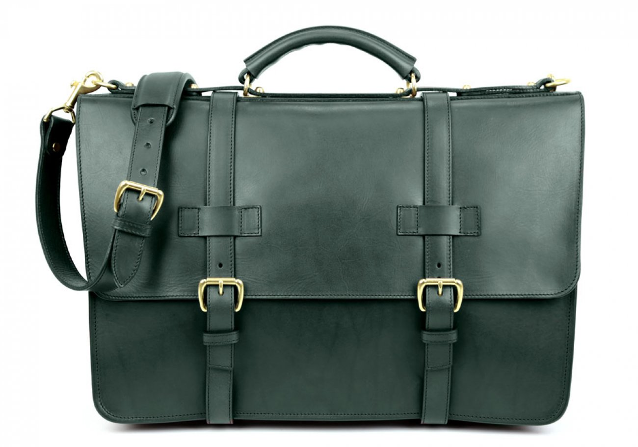 Green Leather American Briefcase Frank Clegg Made In Usa 1