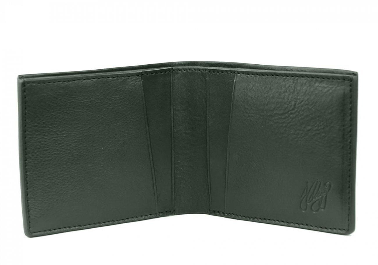 Green Leather Bifold Wallet  Frank Clegg Made In Usa 1