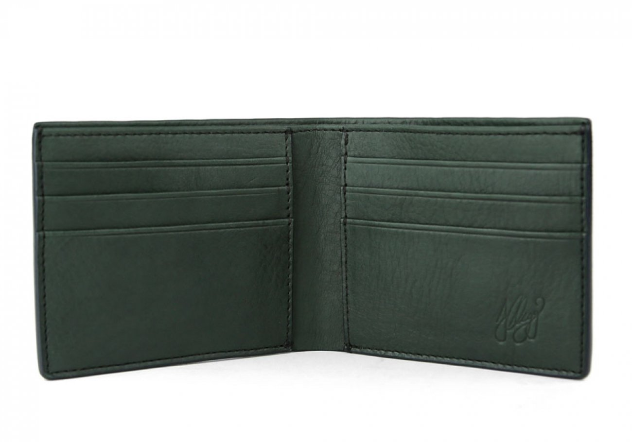 Green Leather Bifold Wallet  Frank Clegg Made In Usa 3