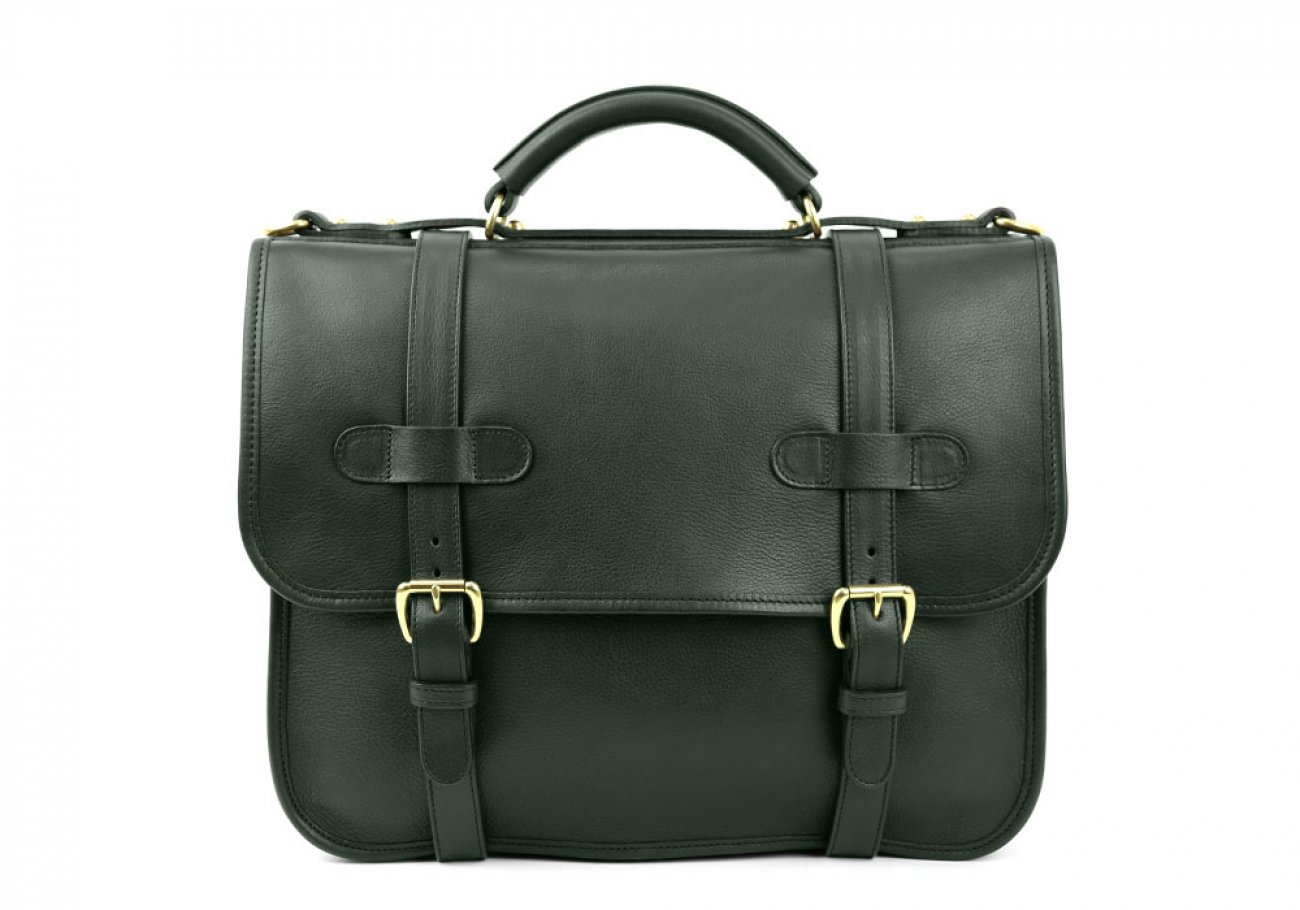 Green Leather Bound Edge English Satchel Frank Clegg Made In Usa 1