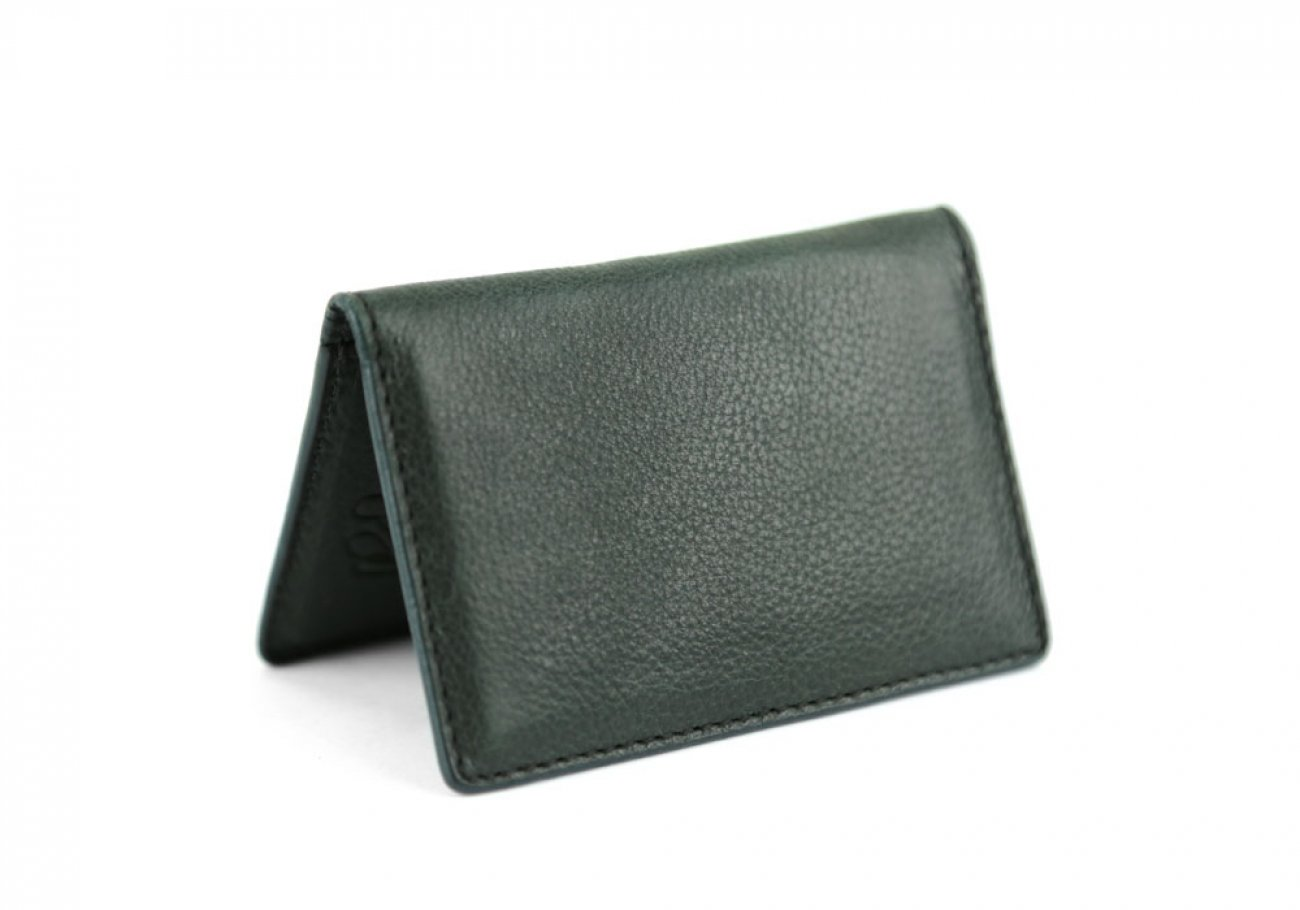 Green Leather Folding Card Wallet Frank Clegg Made In Usa 1