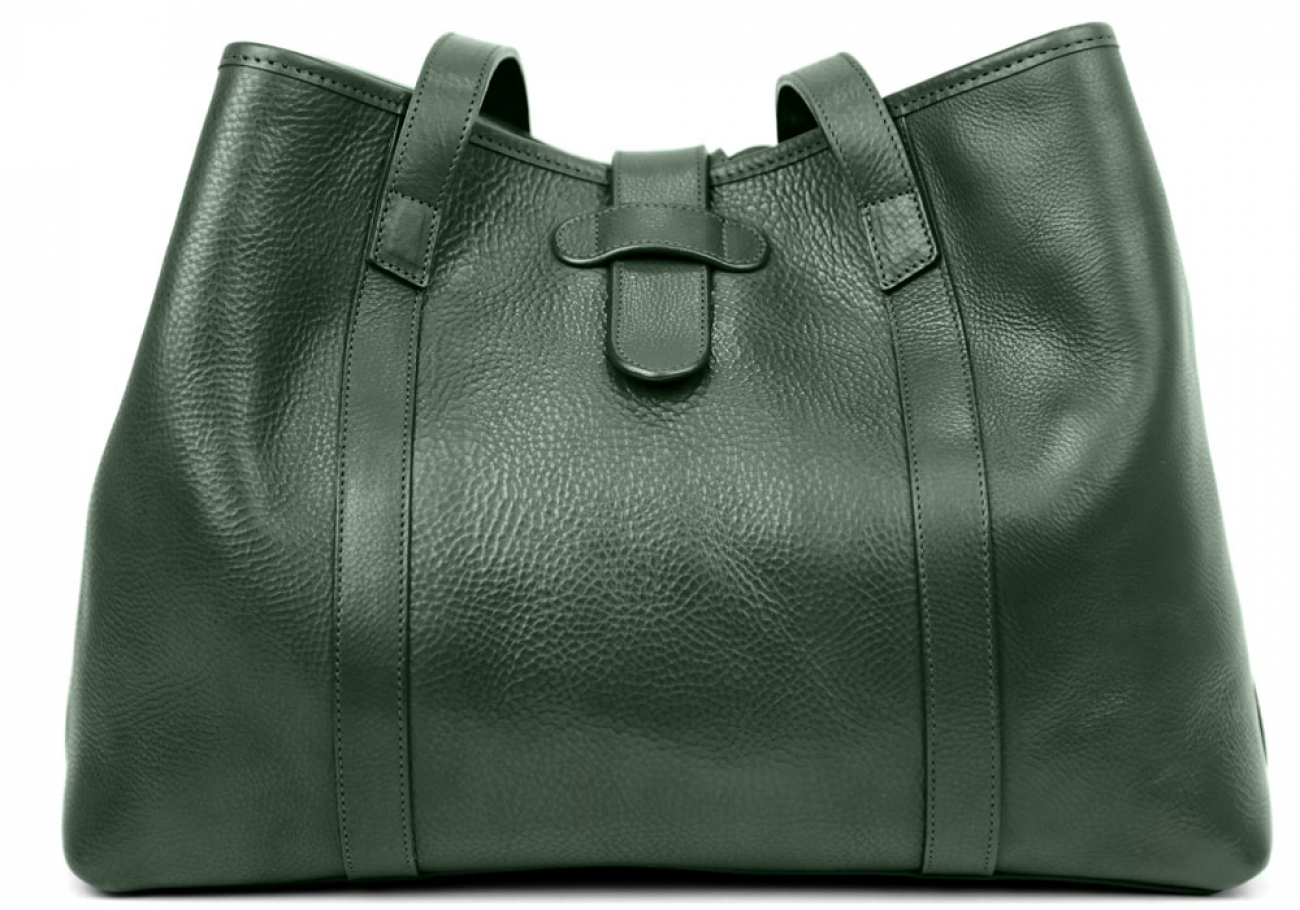 Green Leather Lg Handbag Tote Frank Clegg Made In Usa 1