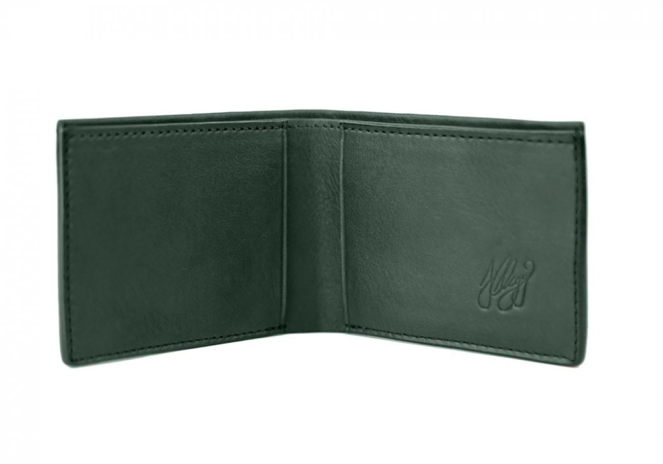Green Leather Slim Wallet  Frank Clegg Made In Usa 2 1