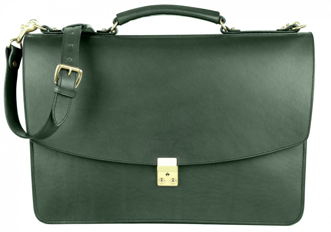 Green Leather Wall Street Briefcase Frank Clegg Made In Usa 2 1