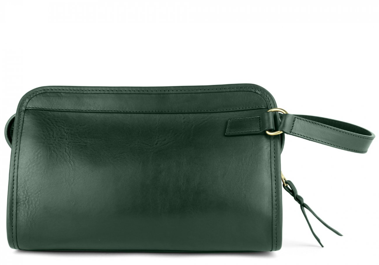 Green Small Tumbled Leather Travel Kit Frank Clegg Made In Usa 1