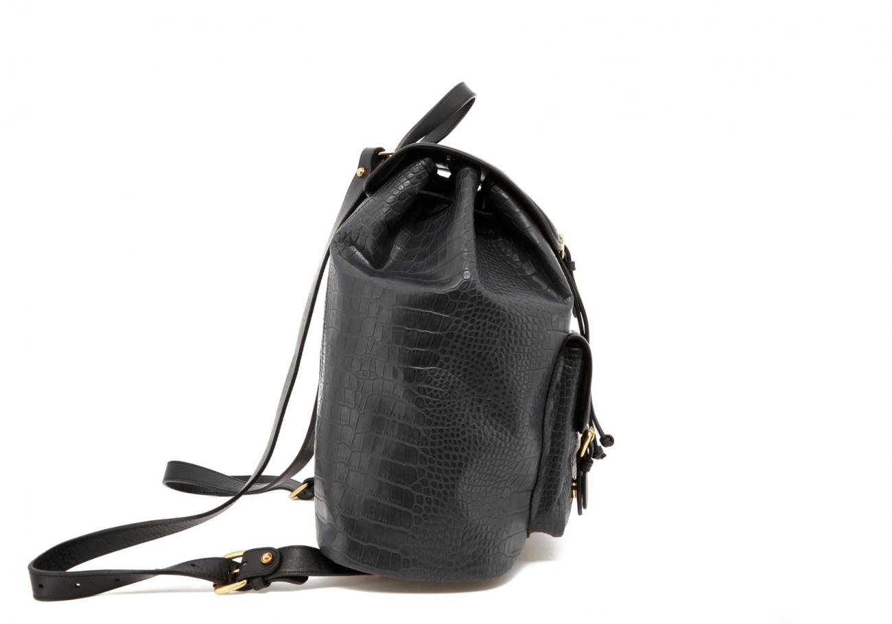 Grey Gator Print Classic Backpack D