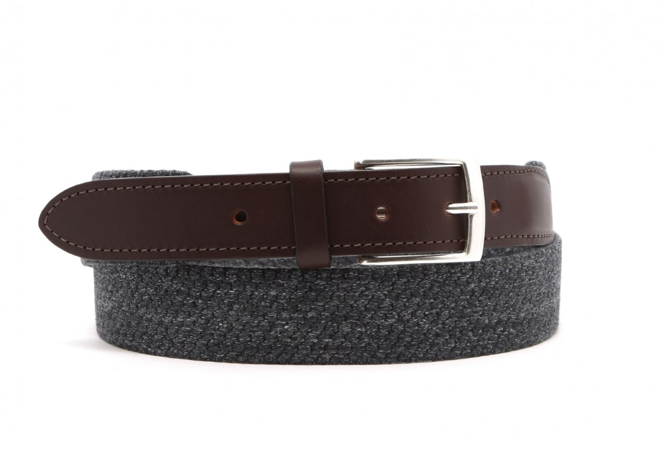 Grey Woven Elastic Wool Belt Leather Trim1 2