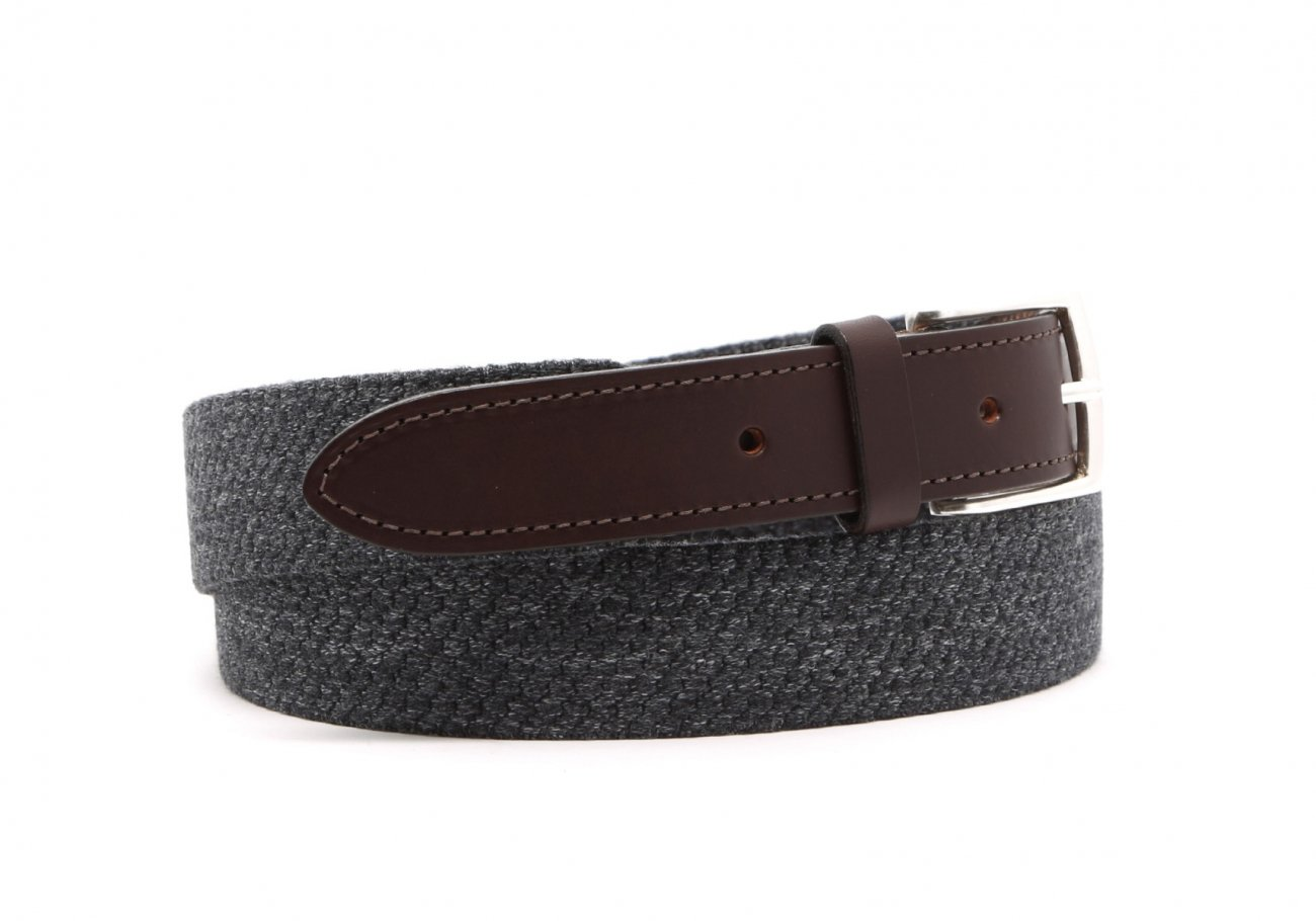 Grey Woven Elastic Wool Belt Leather Trim2 6
