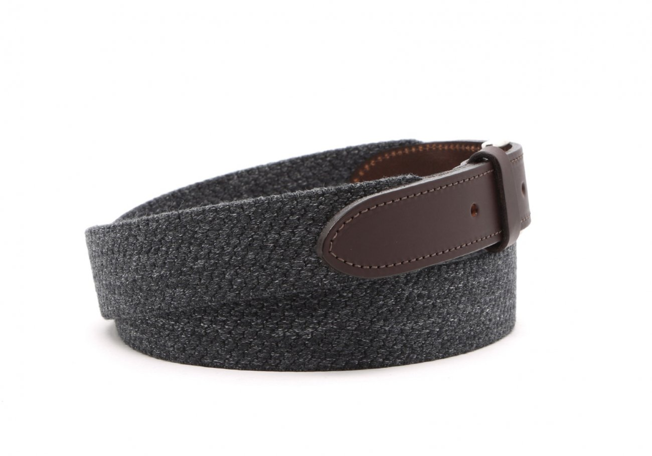 Grey Woven Elastic Wool Belt Leather Trim3