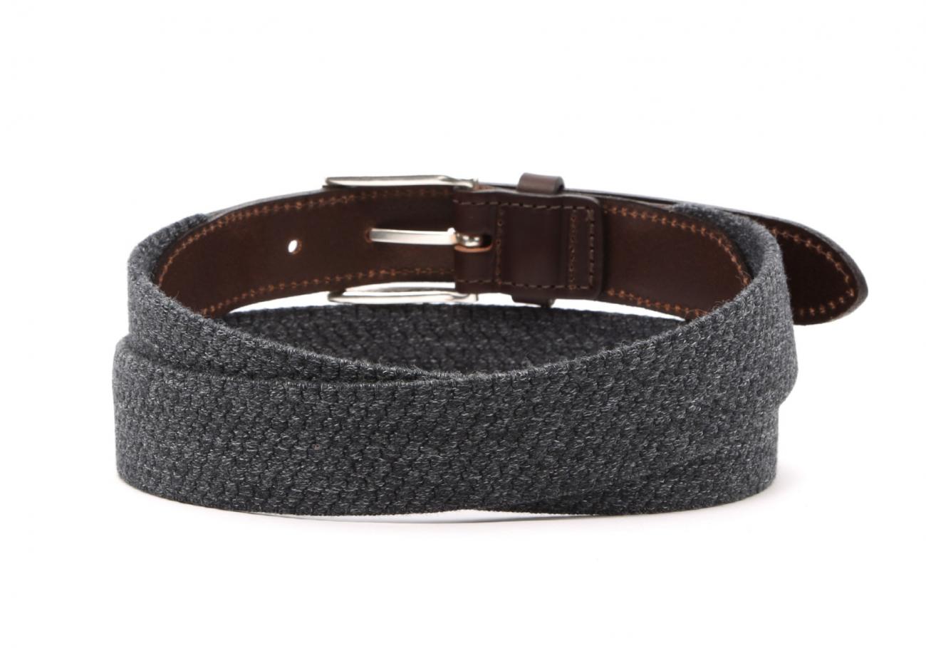Grey Woven Elastic Wool Belt Leather Trim4
