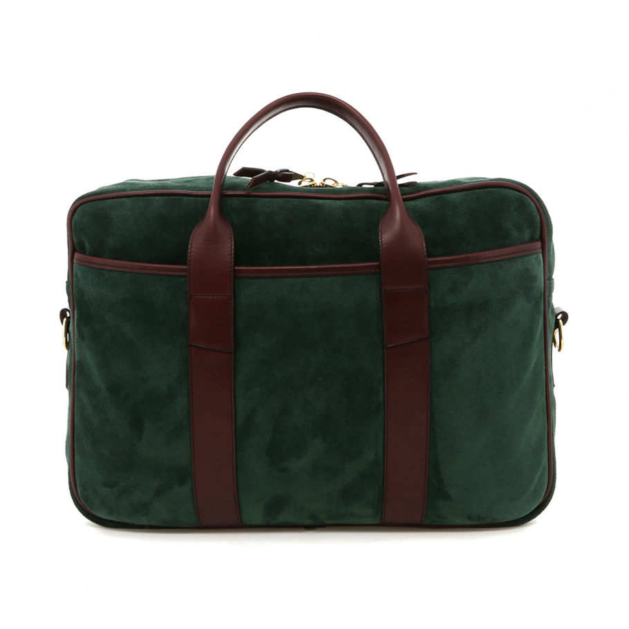 Hunter Green Suede Leather Commuter Brief A