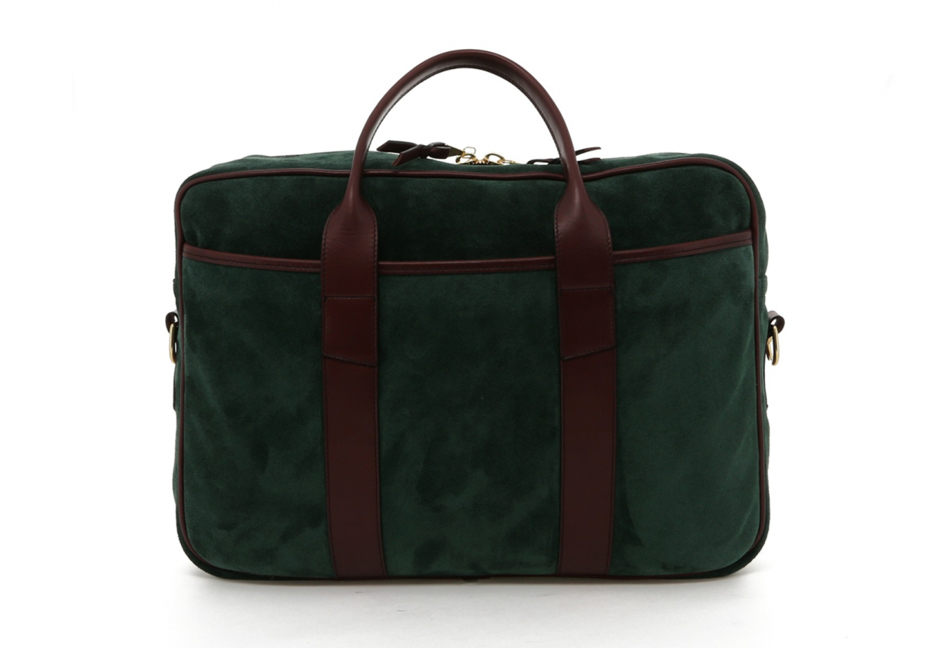 Hunter Green Suede Leather Commuter Brief B