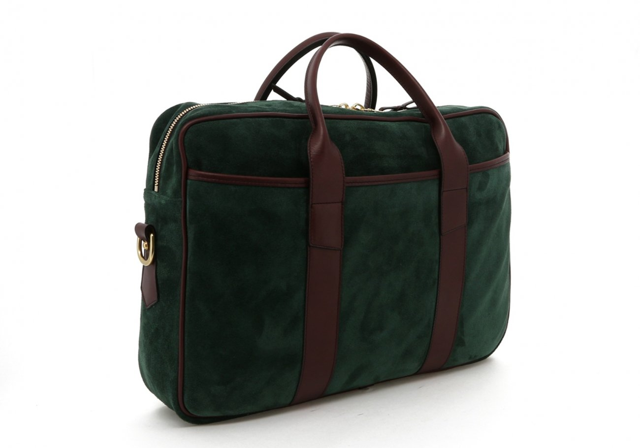Hunter Green Suede Leather Commuter Brief C