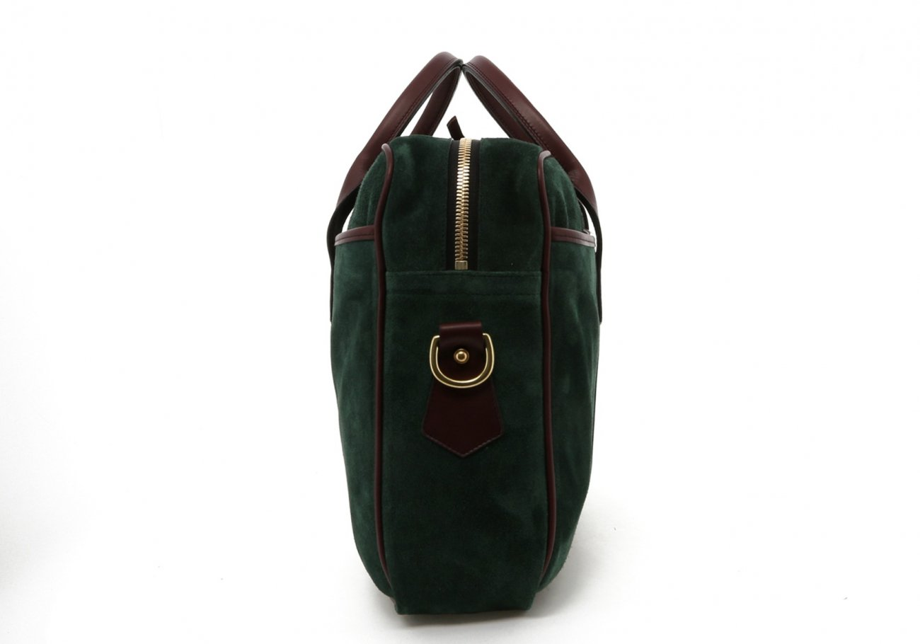 Hunter Green Suede Leather Commuter Brief D