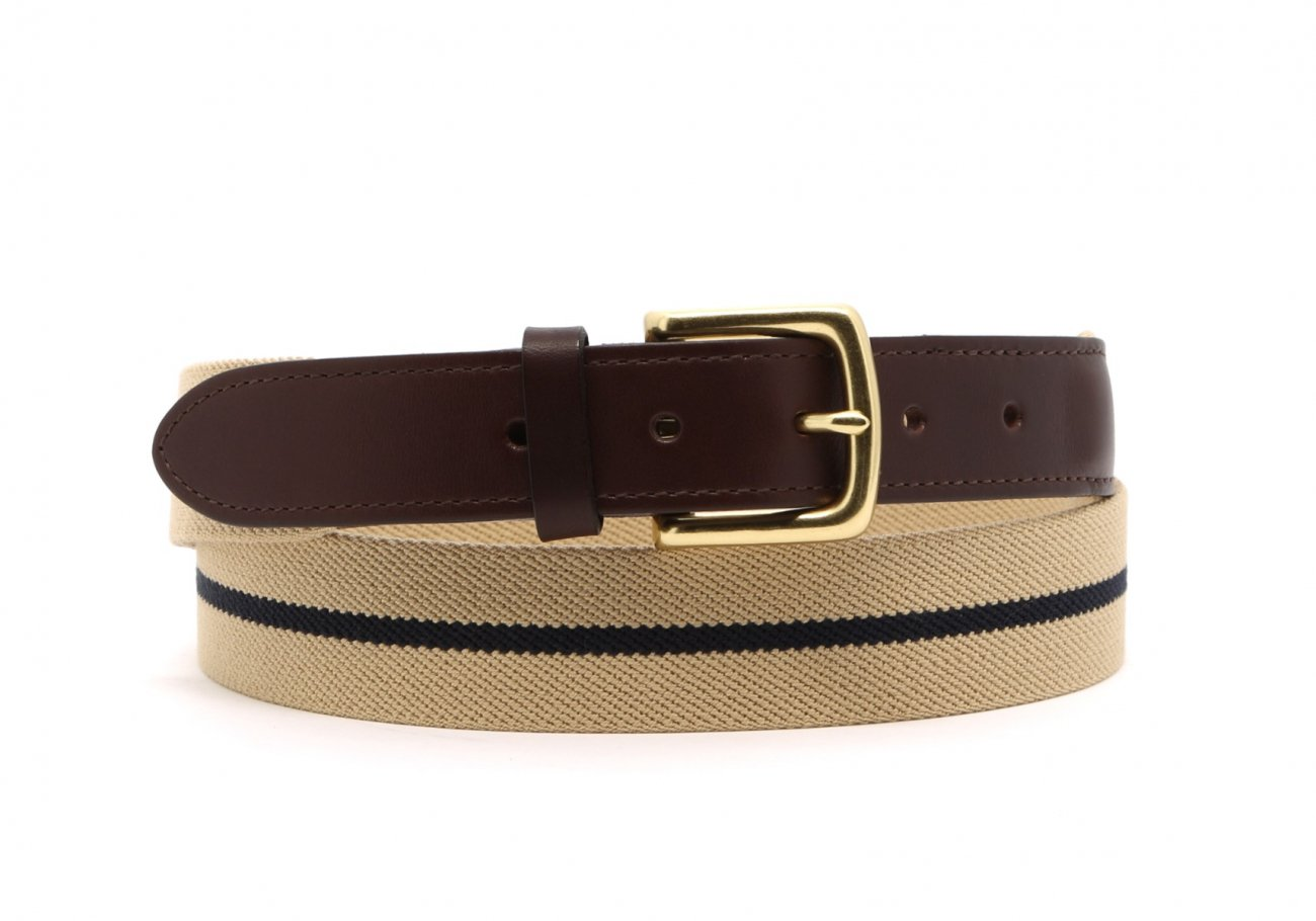 Khaki With Navy Stripe Elastic Belt Leather Trim1 1