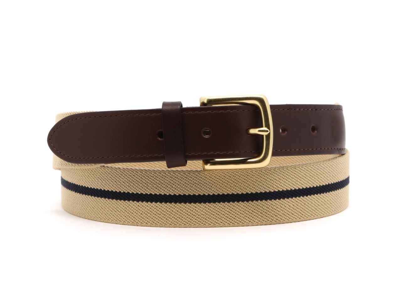 Khaki With Navy Stripe Elastic Belt Leather Trim1 5