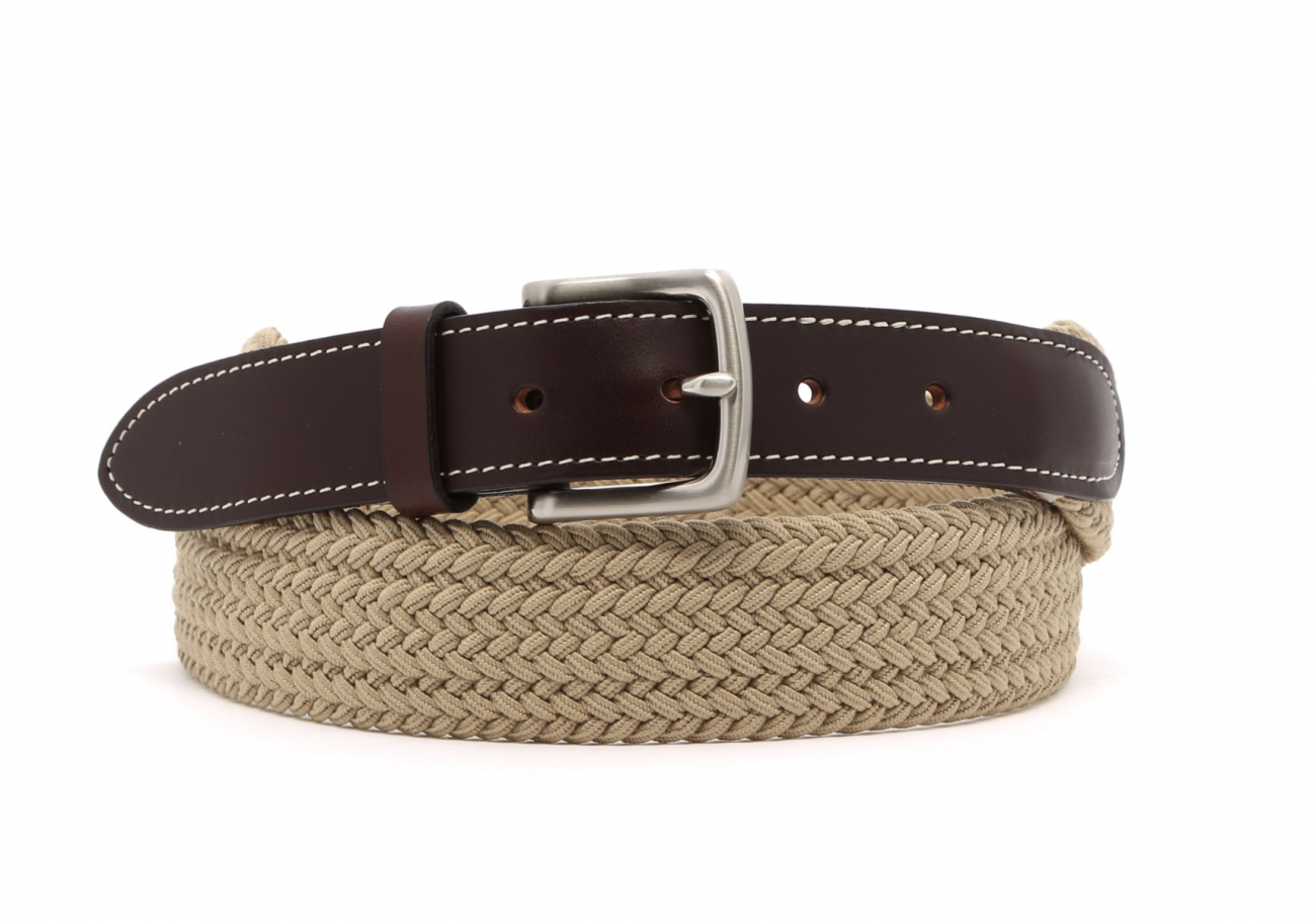 Khaki Woven Elastic Belt Leather Trim1 6 10