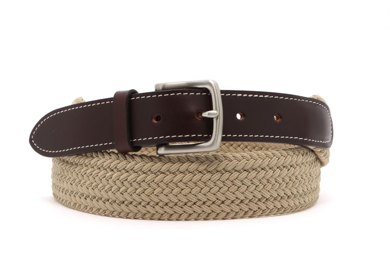 Khaki Woven Elastic Belt Leather Trim1 6 1 2