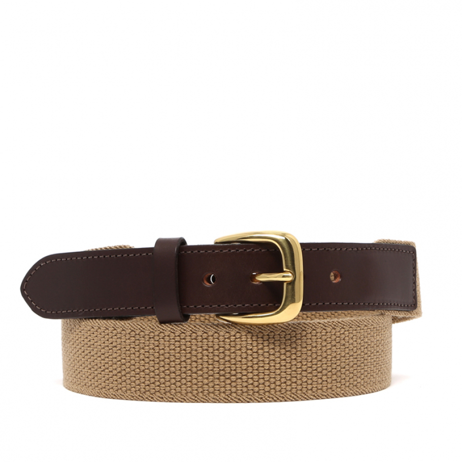 Khaki Woven Stretch Belt Brass Buckle