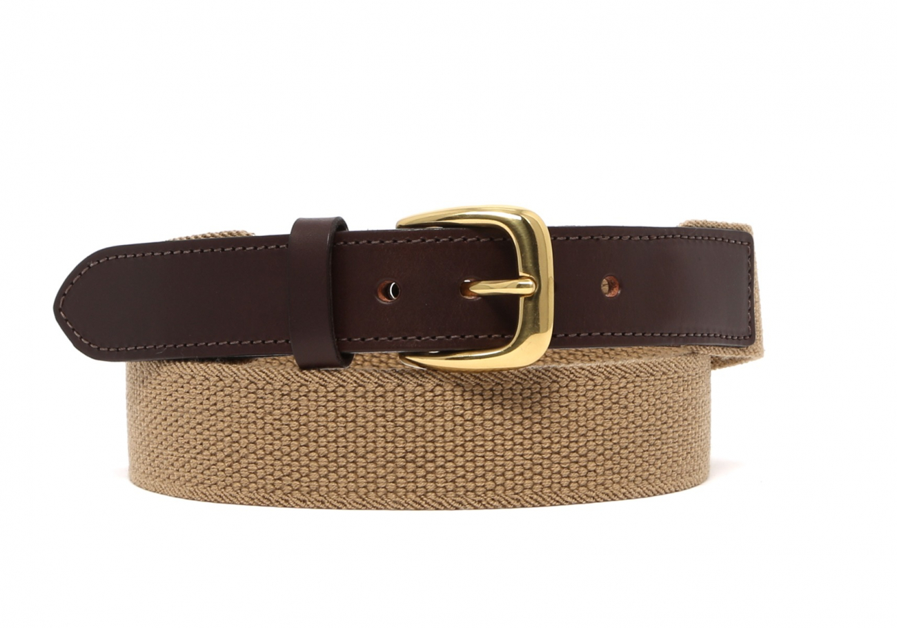 Khaki Woven Stretch Belt Brass Buckle1 1