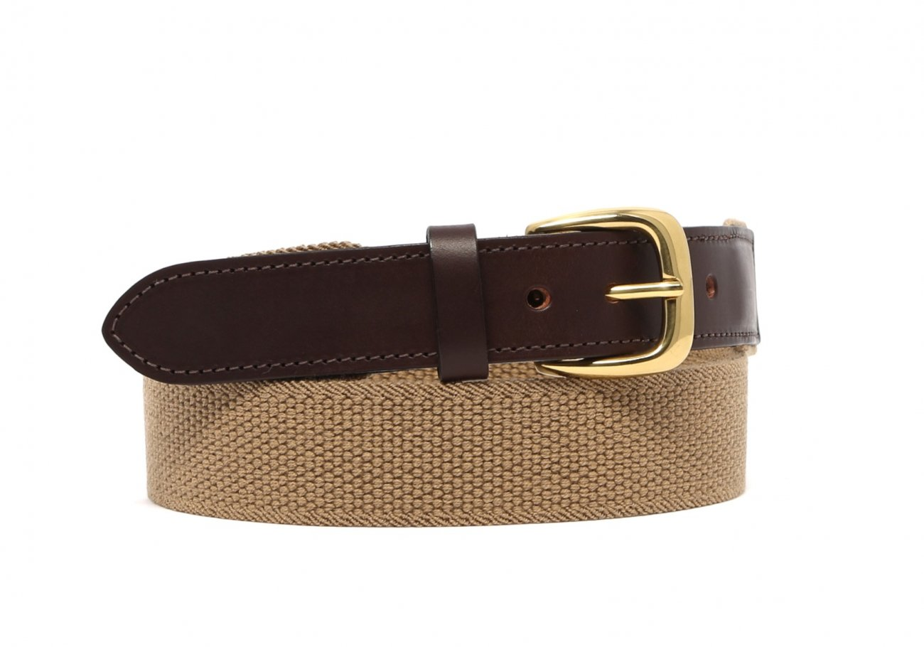 Khaki Woven Stretch Belt Brass Buckle2 1