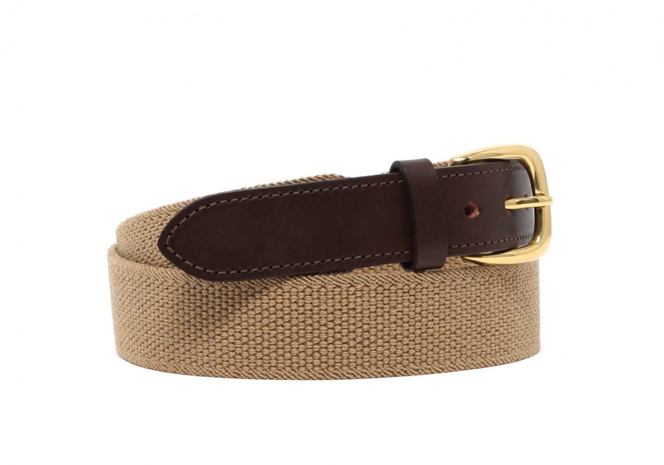 Khaki Woven Stretch Belt Brass Buckle3 1