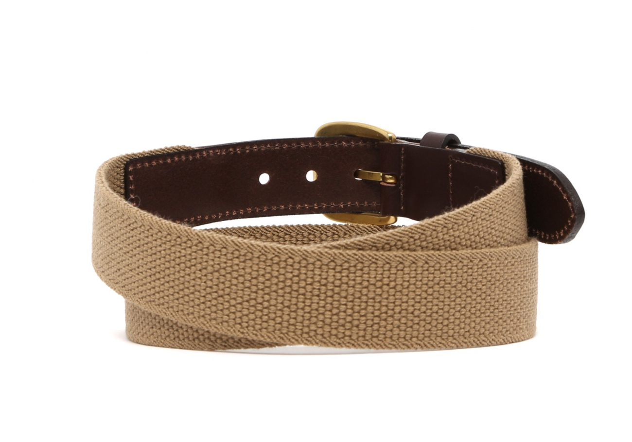 Khaki Woven Stretch Belt Brass Buckle4 1