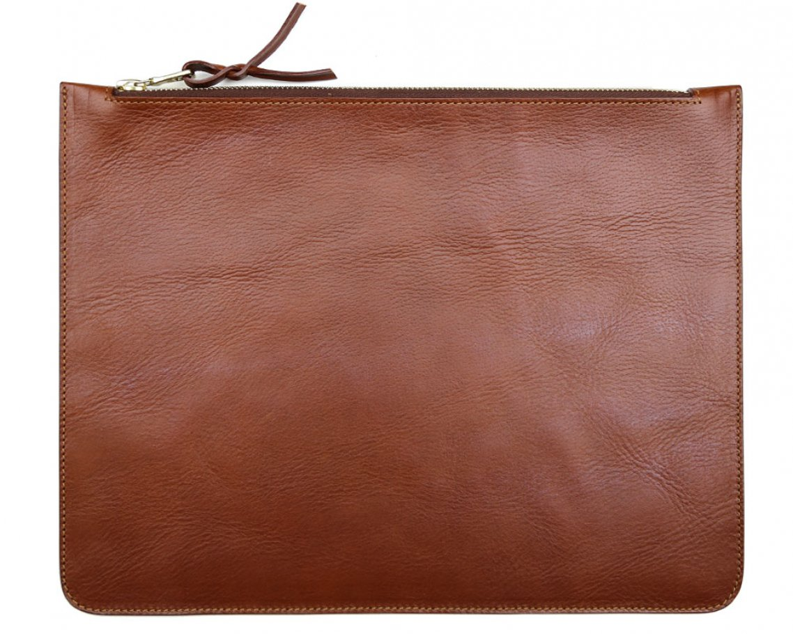 Large Cognac Zipper Pouch Made In Usa Frank Clegg 1