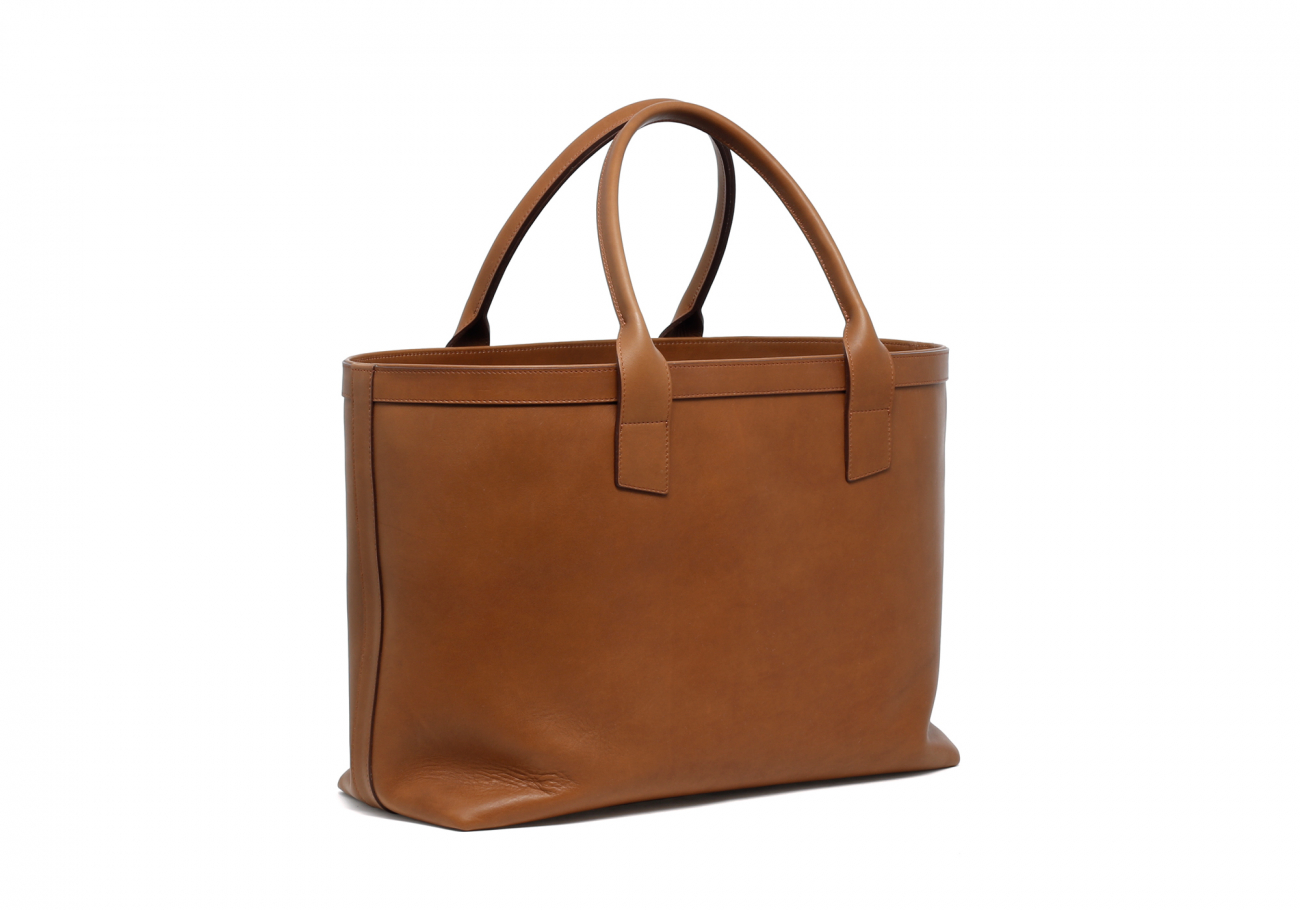 Large Leather Tote Bag Light Tabacoo2