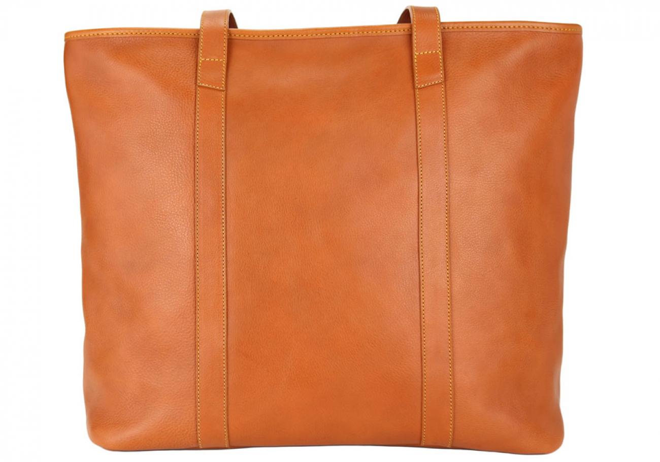 Large Tan Handmade Leather Laurlie Ziptop Tote Bag Made In Usa 1 Raw