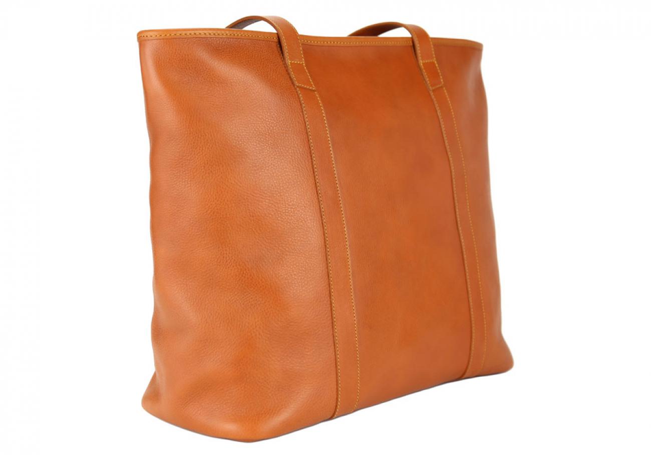 Large Tan Handmade Leather Laurlie Ziptop Tote Bag Made In Usa 2 Raw